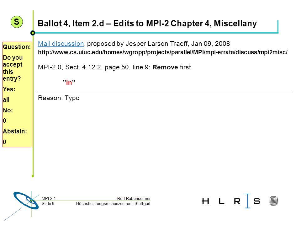Höchstleistungsrechenzentrum Stuttgart Rolf RabenseifnerMPI 2.1 Slide 8 Ballot 4, Item 2.d – Edits to MPI-2 Chapter 4, Miscellany Mail discussionMail