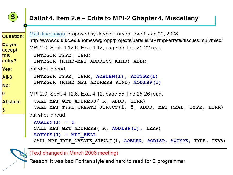 Höchstleistungsrechenzentrum Stuttgart Rolf RabenseifnerMPI 2.1 Slide 9 Ballot 4, Item 2.e – Edits to MPI-2 Chapter 4, Miscellany Mail discussionMail