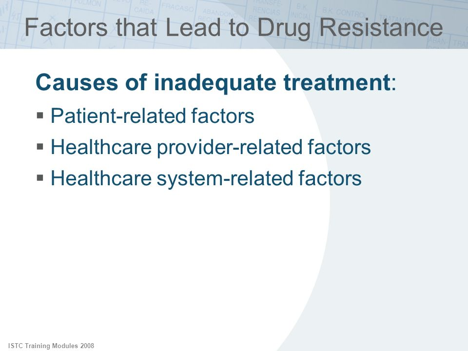 ISTC Training Modules 2008 Factors that Lead to Drug Resistance Causes of inadequate treatment: Patient-related factors Healthcare provider-related fa