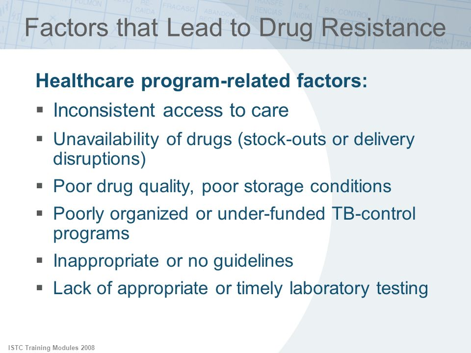 ISTC Training Modules 2008 Factors that Lead to Drug Resistance Healthcare program-related factors: Inconsistent access to care Unavailability of drug