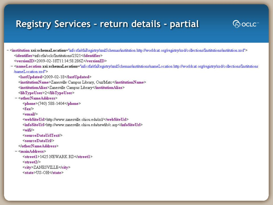 Registry Services – return details - partial