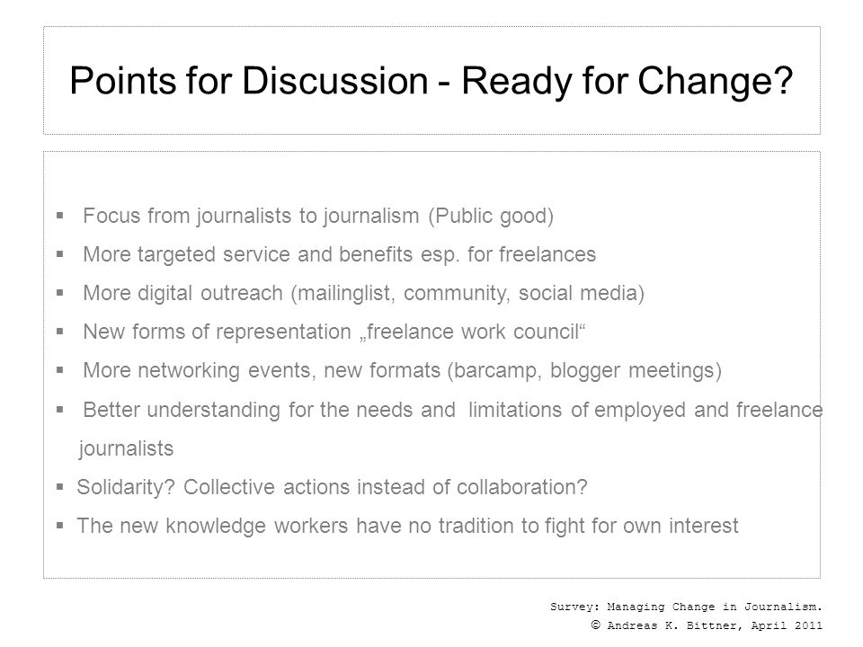 Survey: Managing Change in Journalism. © Andreas K.