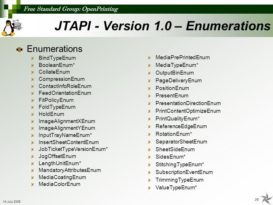 Free Standard Group: OpenPrinting 30 14 July 2005 JTAPI - Version 1.0 – Enumerations Enumerations BindTypeEnum BooleanEnum* CollateEnum CompressionEnu