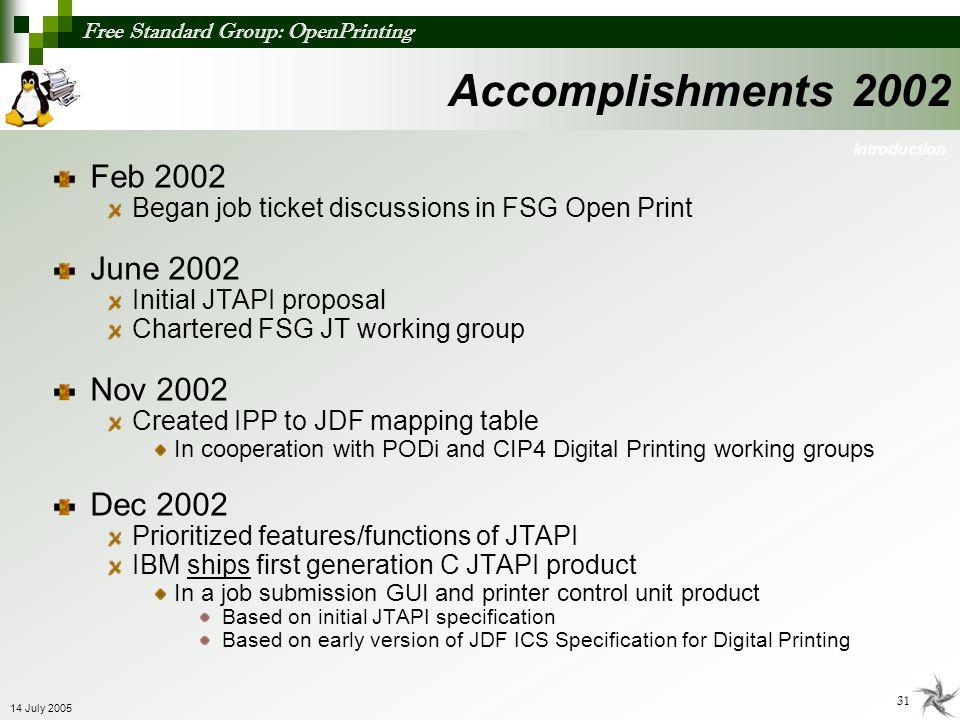 Free Standard Group: OpenPrinting 31 14 July 2005 Accomplishments 2002 Feb 2002 Began job ticket discussions in FSG Open Print June 2002 Initial JTAPI