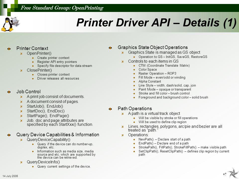 Free Standard Group: OpenPrinting 47 14 July 2005 Printer Context OpenPrinter() Create printer context Register API entry pointers Specify file descri