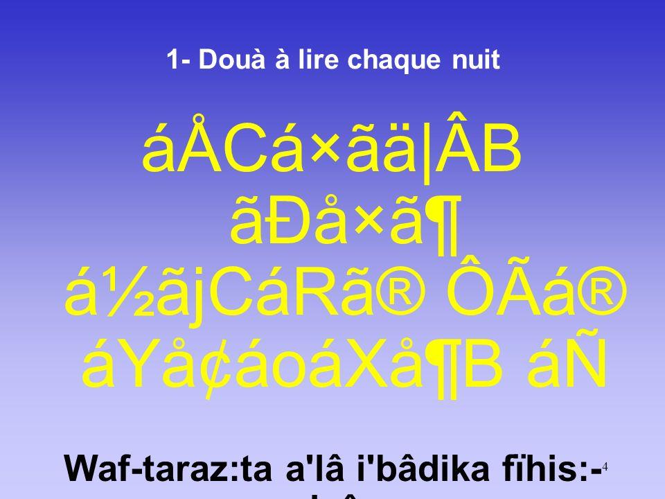 25 2 - Douà à lire chaque nuit CáËãÃáXåRáW áÚᶠáÀãÊBáÒáÎ áÑ áÀãQBámá® Ø㶠áÑ wa fî a zâbika wa hawânika falâ tabtalinâ Ne nous inflige pas Tes châtiments et Tes opprobres!