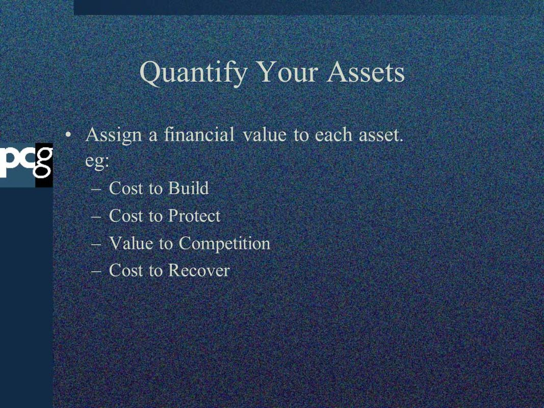 Quantify Your Assets Assign a financial value to each asset. eg: –Cost to Build –Cost to Protect –Value to Competition –Cost to Recover