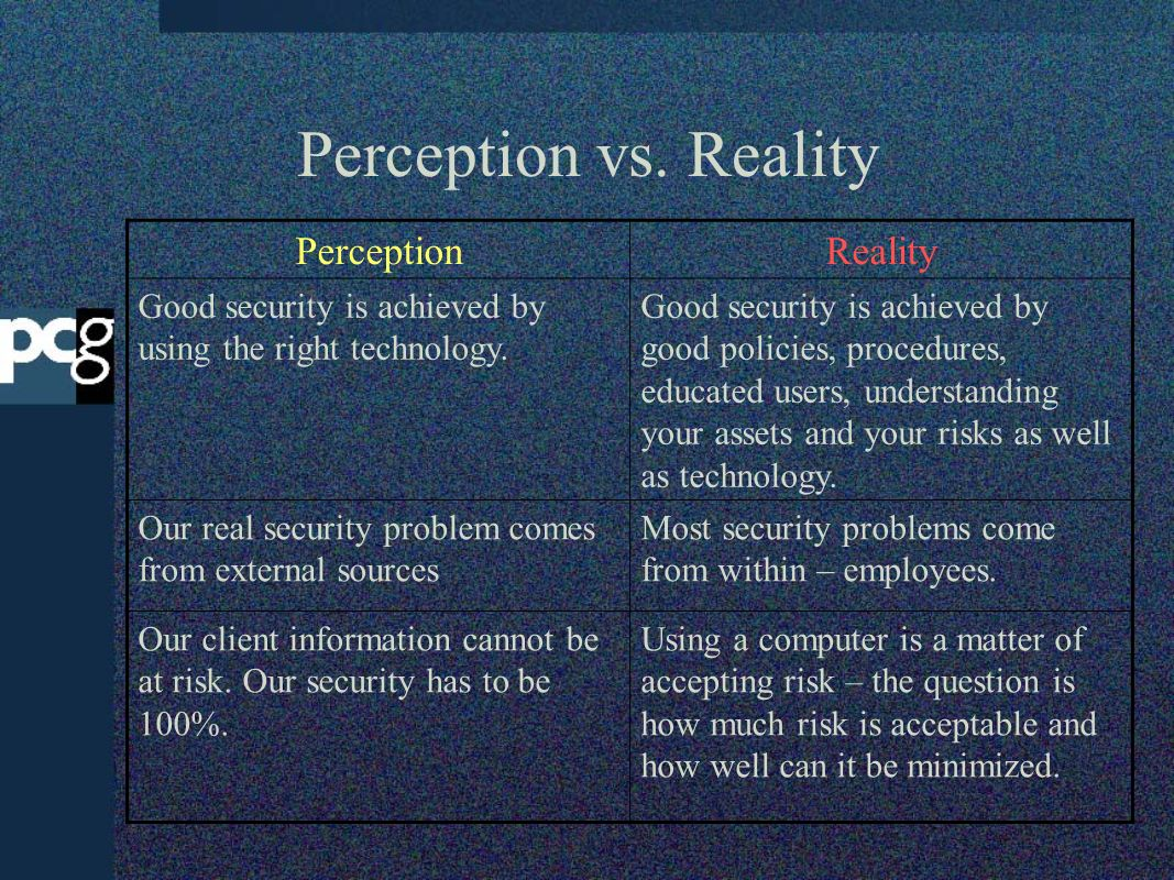 Perception vs. Reality PerceptionReality Good security is achieved by using the right technology. Good security is achieved by good policies, procedur
