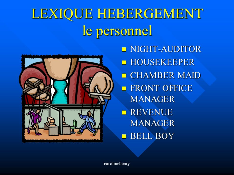 carolinehenry LEXIQUE HEBERGEMENT le personnel NIGHT-AUDITOR HOUSEKEEPER CHAMBER MAID FRONT OFFICE MANAGER REVENUE MANAGER BELL BOY