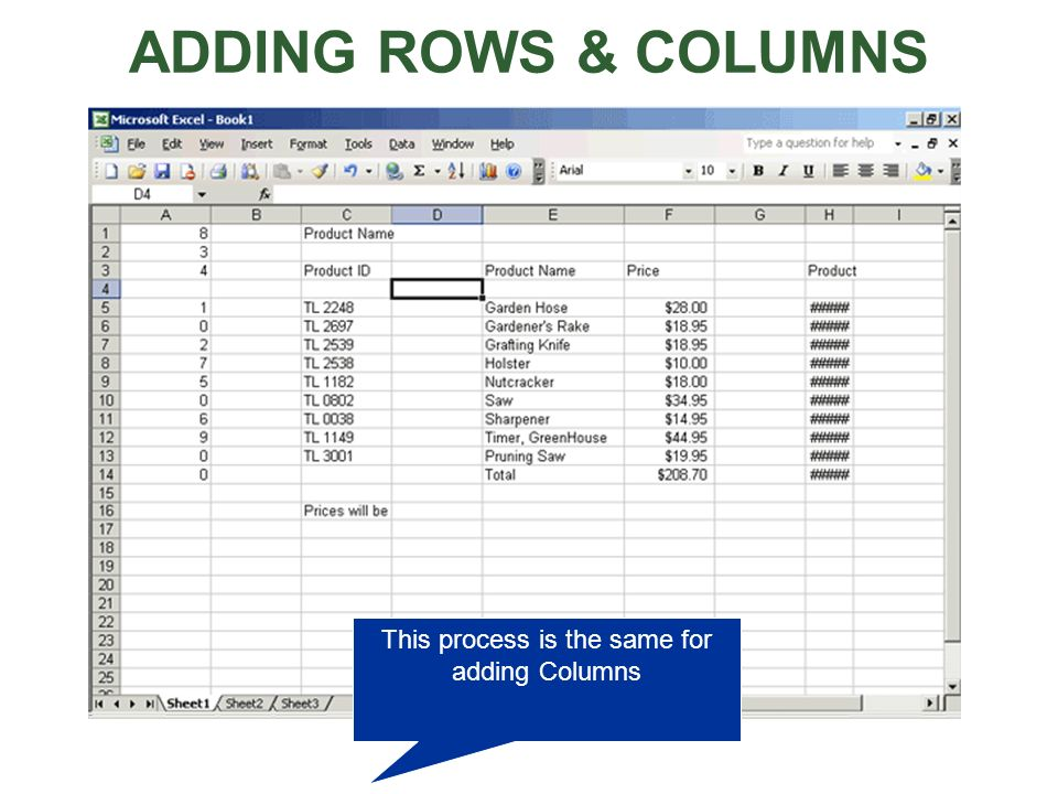 ADDING ROWS & COLUMNS This process is the same for adding Columns