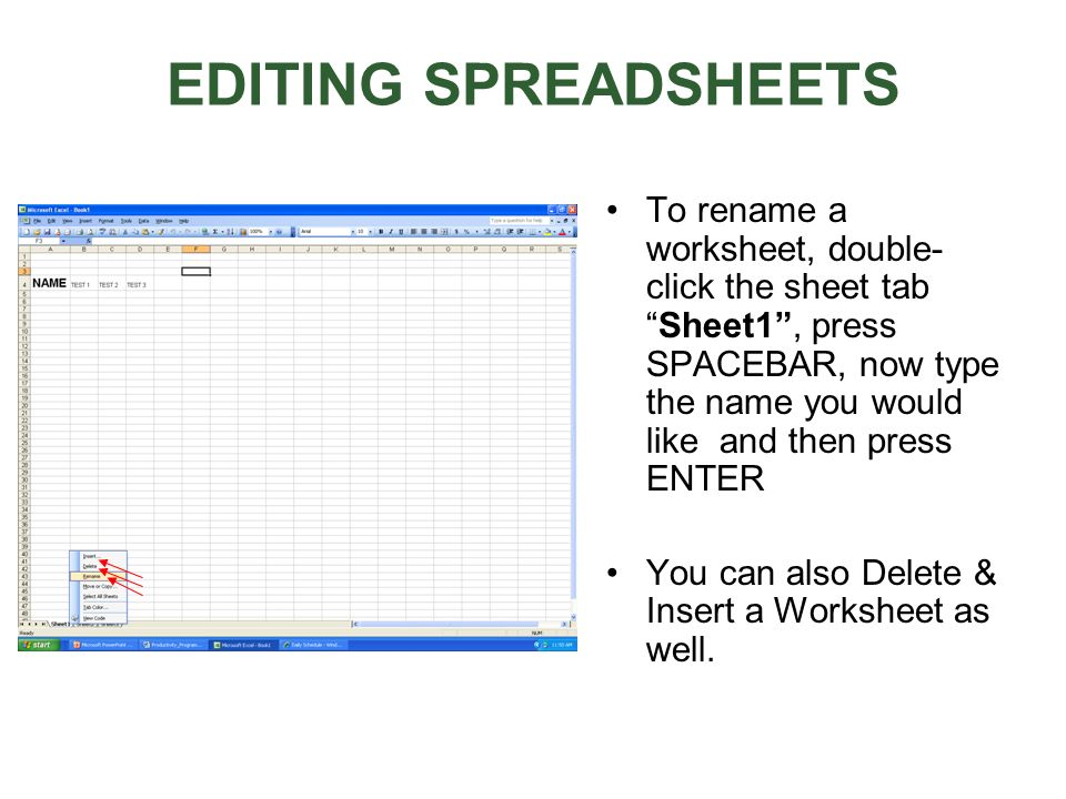 EDITING SPREADSHEETS To rename a worksheet, double- click the sheet tabSheet1, press SPACEBAR, now type the name you would like and then press ENTER Y