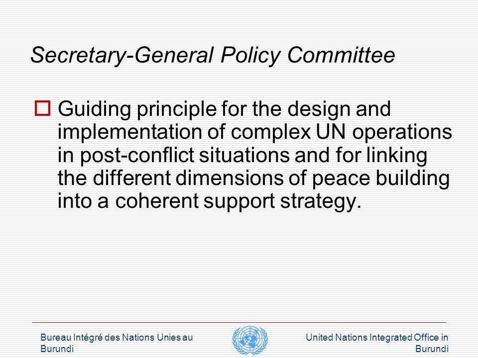 Bureau Intégré des Nations Unies au Burundi United Nations Integrated Office in Burundi Integrated Approach Programmatic Integration
