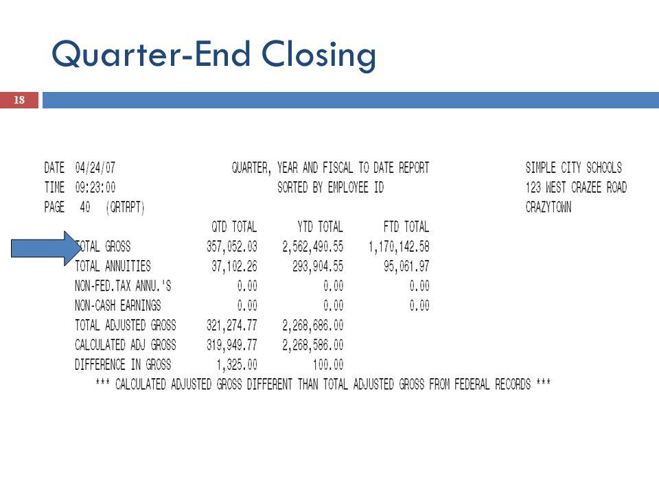 Quarter-End Closing 18