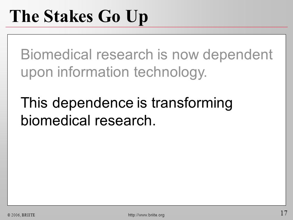 17 © 2006, BRIITE http://www.briite.org The Stakes Go Up Biomedical research is now dependent upon information technology. This dependence is transfor