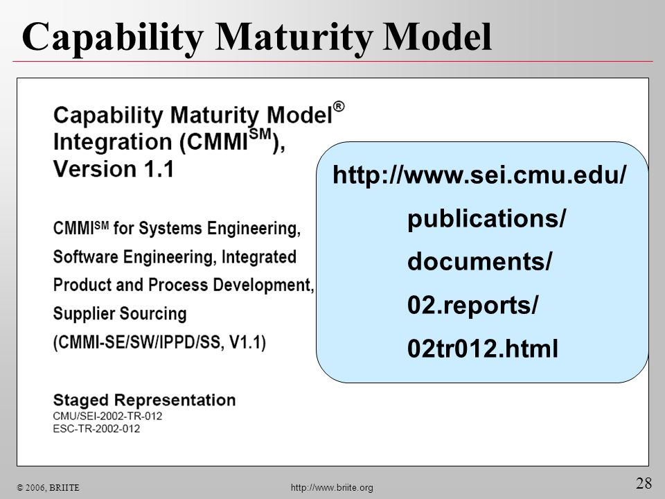 28 © 2006, BRIITE http://www.briite.org Capability Maturity Model http://www.sei.cmu.edu/ publications/ documents/ 02.reports/ 02tr012.html