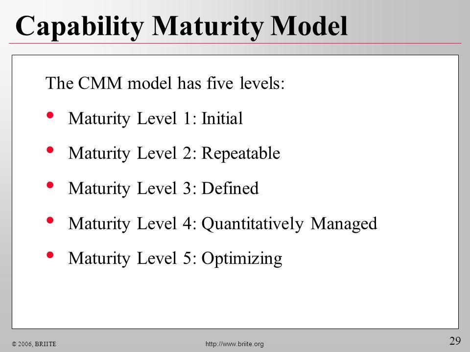 29 © 2006, BRIITE http://www.briite.org Capability Maturity Model Maturity Level 1: Initial Maturity Level 2: Repeatable Maturity Level 3: Defined Mat