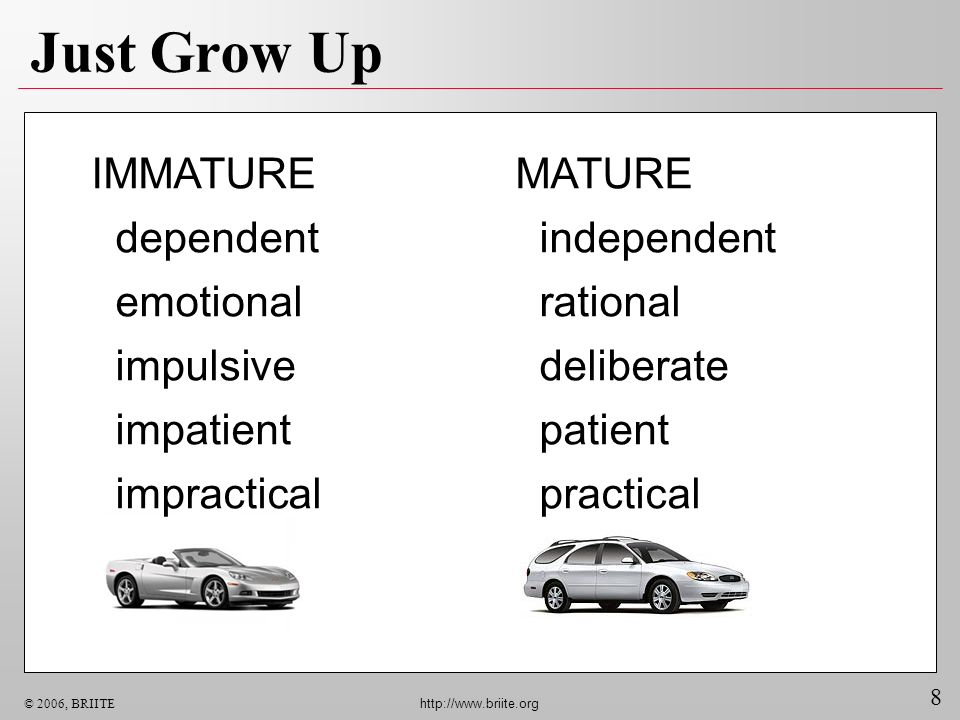 8 © 2006, BRIITE http://www.briite.org Just Grow Up MATURE independent rational deliberate patient practical IMMATURE dependent emotional impulsive im