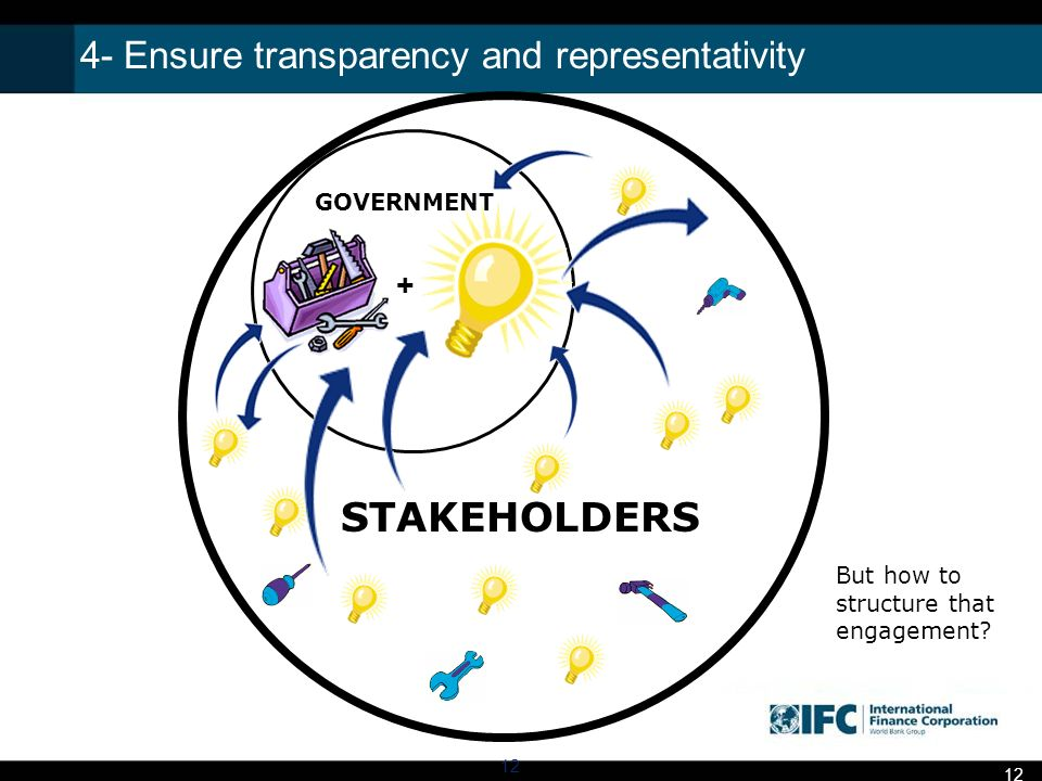 4- Ensure transparency and representativity 12 + GOVERNMENT STAKEHOLDERS But how to structure that engagement.