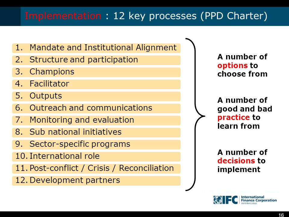 Implementation : 12 key processes (PPD Charter) 1.Mandate and Institutional Alignment 2.Structure and participation 3.Champions 4.Facilitator 5.Outputs 6.Outreach and communications 7.Monitoring and evaluation 8.Sub national initiatives 9.Sector-specific programs 10.International role 11.Post-conflict / Crisis / Reconciliation 12.Development partners A number of options to choose from A number of good and bad practice to learn from A number of decisions to implement 16