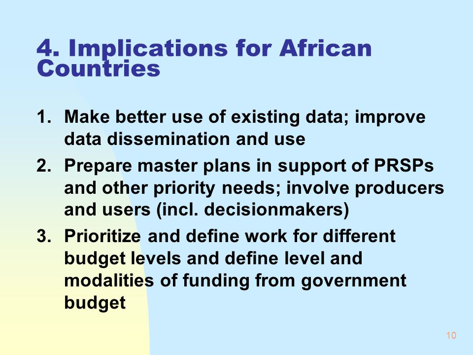 10 4. Implications for African Countries 1.Make better use of existing data; improve data dissemination and use 2.Prepare master plans in support of P