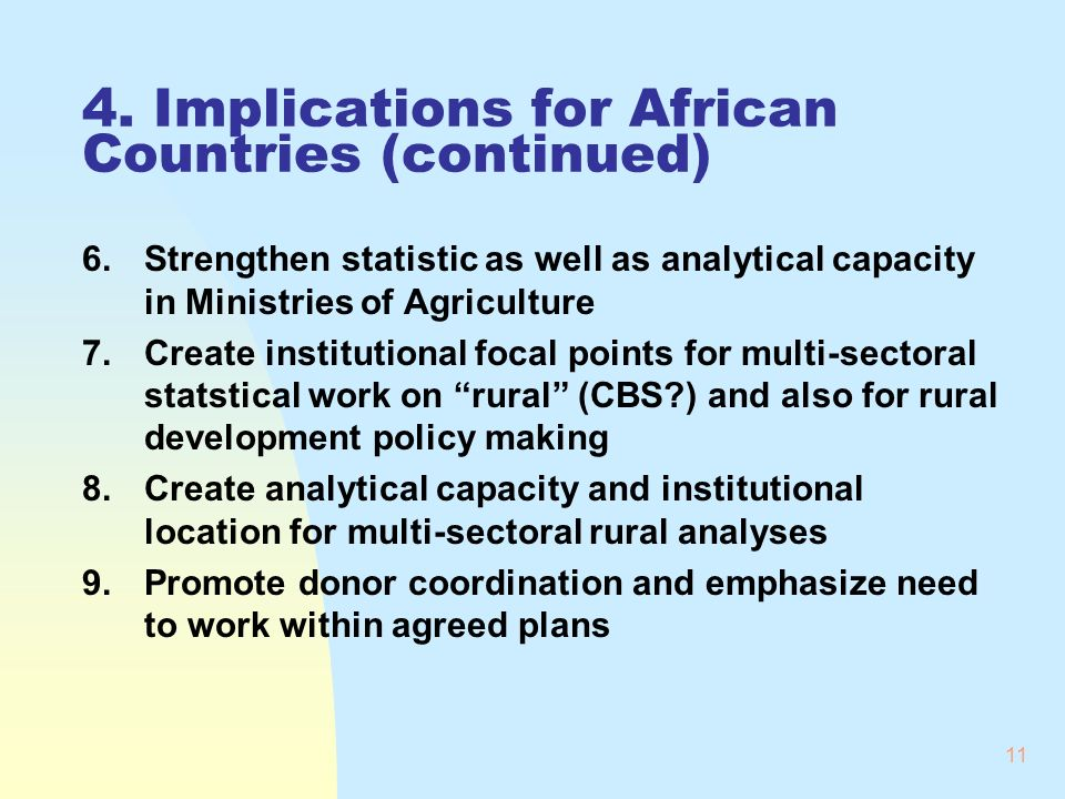 11 4. Implications for African Countries (continued) 6.Strengthen statistic as well as analytical capacity in Ministries of Agriculture 7.Create insti