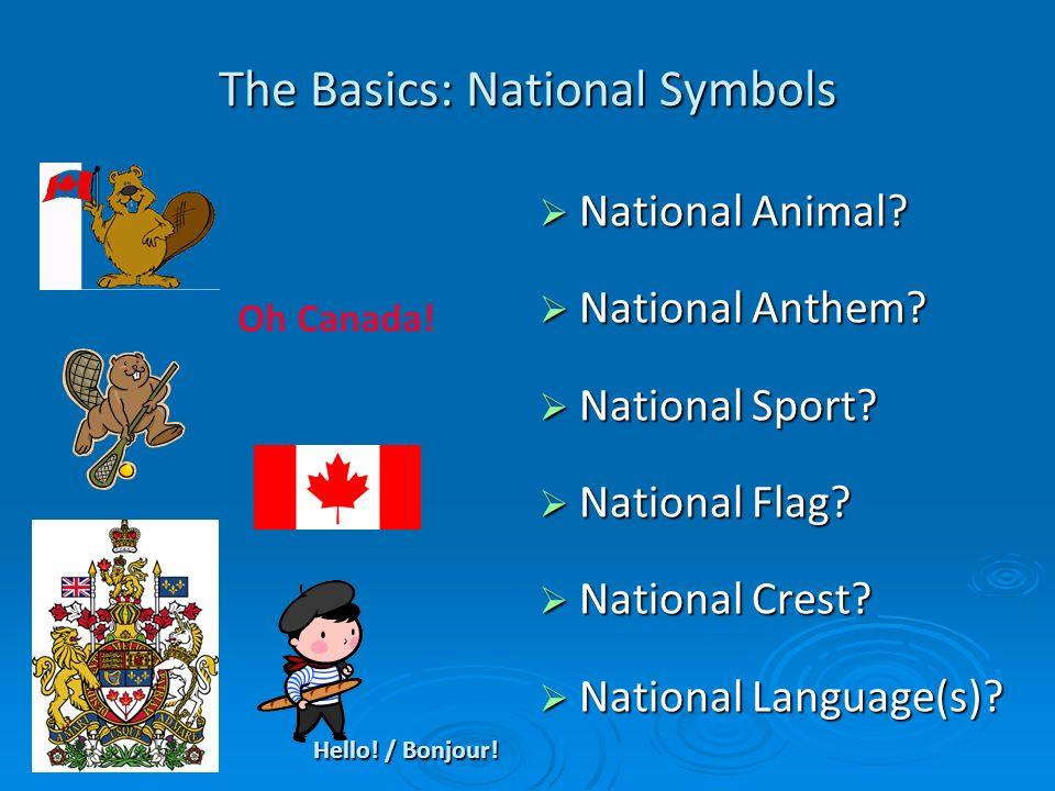 The Basics: National Symbols National Animal? National Animal? National Anthem? National Anthem? National Sport? National Sport? National Flag? Nation
