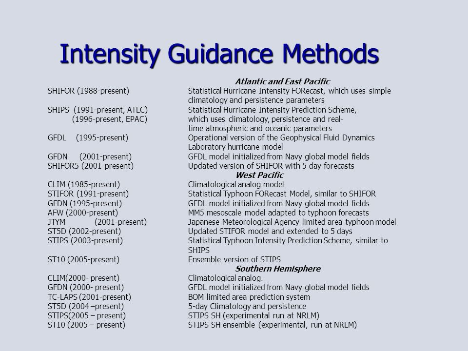 Intensity Guidance Methods Atlantic and East Pacific SHIFOR (1988-present) Statistical Hurricane Intensity FORecast, which uses simple climatology and