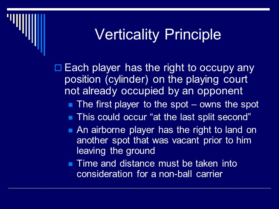 Verticality Principle Each player has the right to occupy any position (cylinder) on the playing court not already occupied by an opponent The first player to the spot – owns the spot This could occur at the last split second An airborne player has the right to land on another spot that was vacant prior to him leaving the ground Time and distance must be taken into consideration for a non-ball carrier