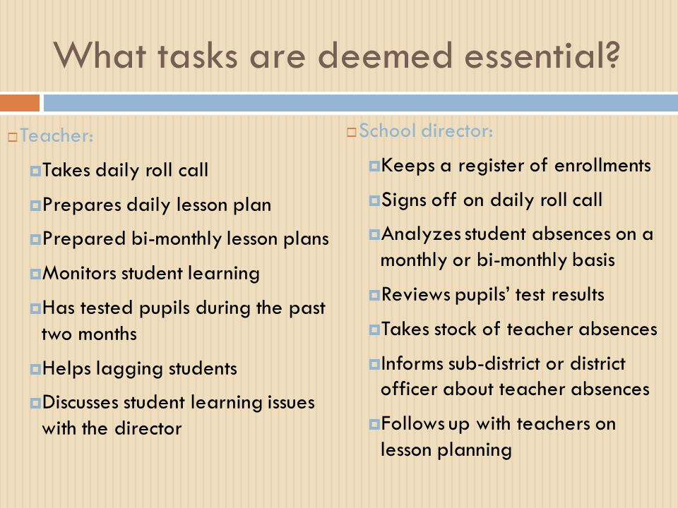 What tasks are deemed essential.