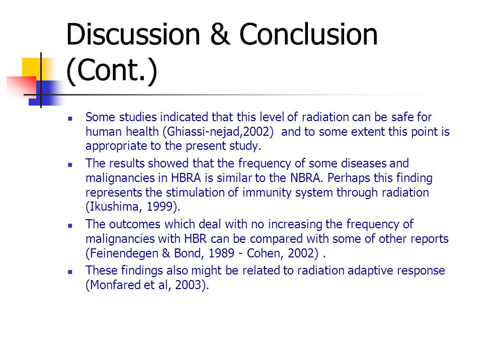 Discussion & Conclusion (Cont.) Some studies indicated that this level of radiation can be safe for human health (Ghiassi-nejad,2002) and to some extent this point is appropriate to the present study.