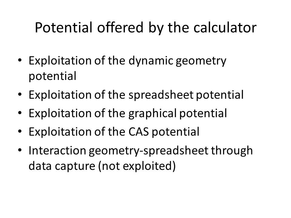 Potential offered by the calculator Exploitation of the dynamic geometry potential Exploitation of the spreadsheet potential Exploitation of the graph