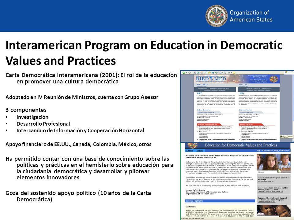 Interamerican Program on Education in Democratic Values and Practices Carta Democrática Interamericana (2001): El rol de la educación en promover una