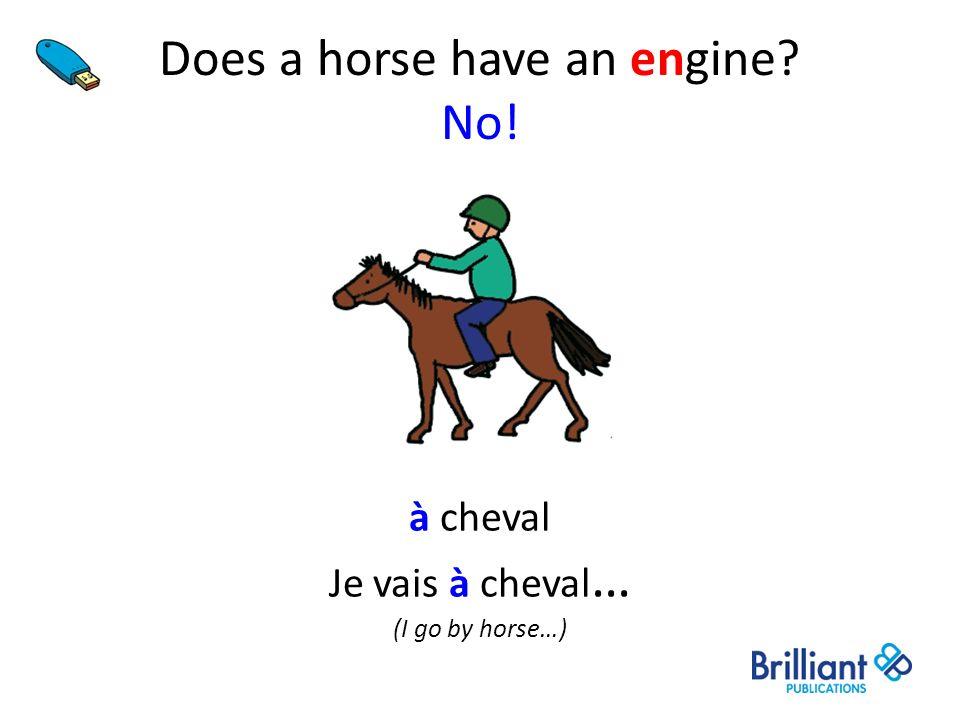 Does a horse have an engine? No! à cheval Je vais à cheval … (I go by horse…)