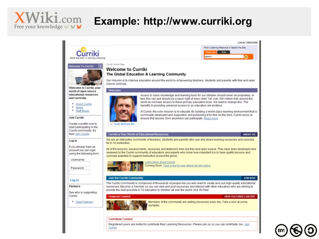 Example: http://www.curriki.org