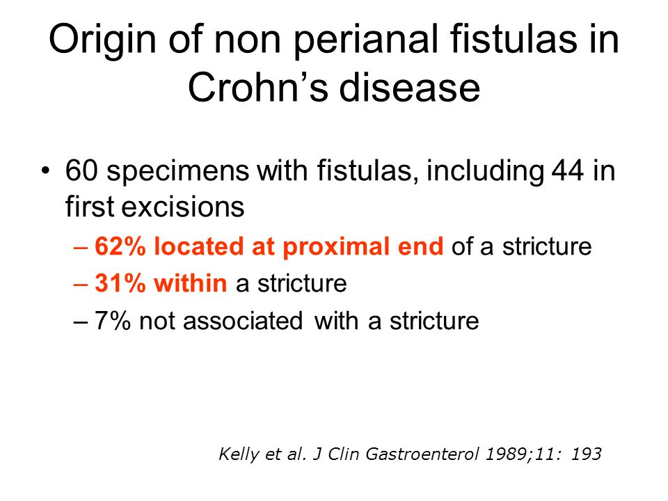 Origin of non perianal fistulas in Crohns disease 60 specimens with fistulas, including 44 in first excisions –62% located at proximal end of a strict
