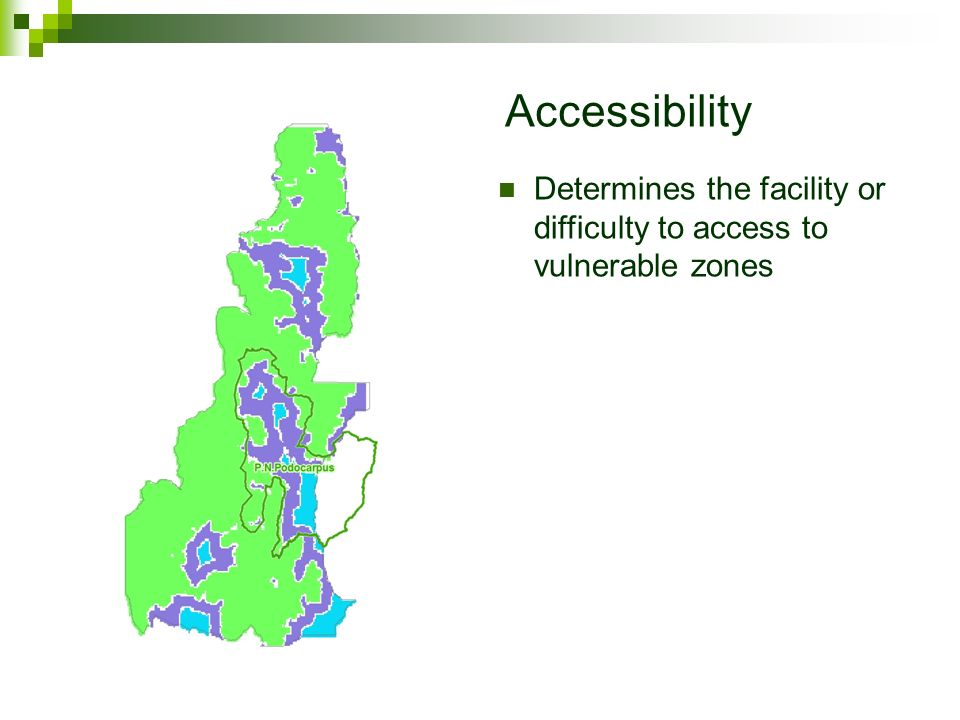Accessibility Determines the facility or difficulty to access to vulnerable zones