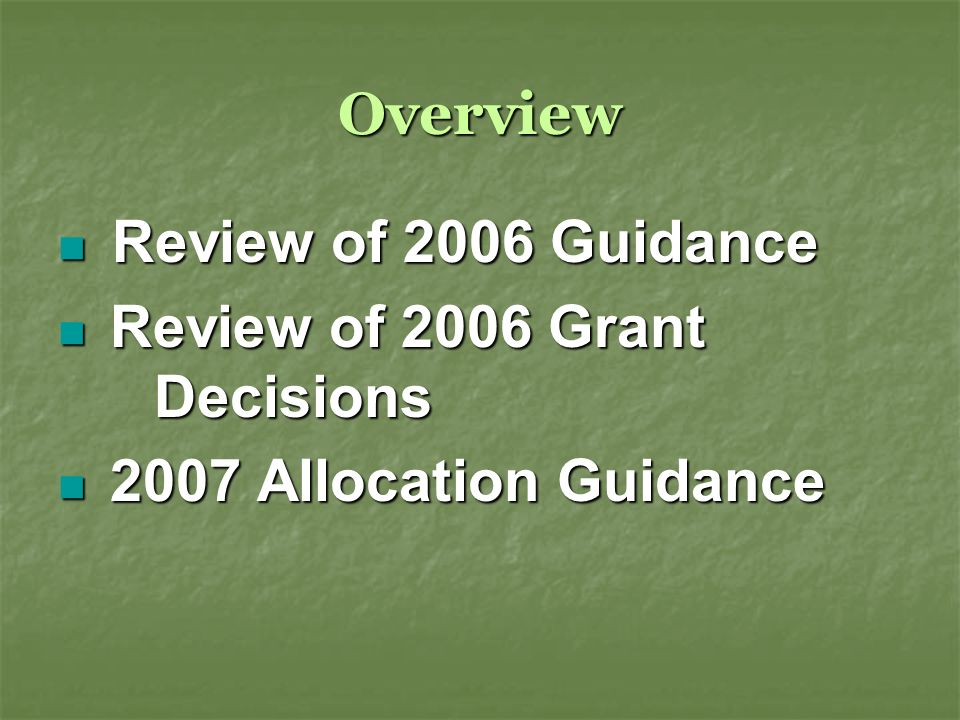 Overview Review of 2006 Guidance Review of 2006 Guidance Review of 2006 Grant Decisions Review of 2006 Grant Decisions 2007 Allocation Guidance 2007 Allocation Guidance