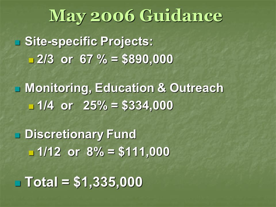 May 2006 Guidance Site-specific Projects: Site-specific Projects: 2/3 or 67 % = $890,000 2/3 or 67 % = $890,000 Monitoring, Education & Outreach Monitoring, Education & Outreach 1/4 or 25% = $334,000 1/4 or 25% = $334,000 Discretionary Fund Discretionary Fund 1/12 or 8% = $111,000 1/12 or 8% = $111,000 Total = $1,335,000 Total = $1,335,000