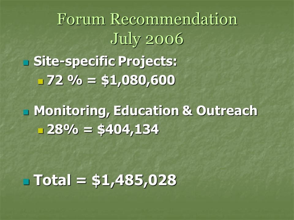 Forum Recommendation July 2006 Site-specific Projects: Site-specific Projects: 72 % = $1,080,600 72 % = $1,080,600 Monitoring, Education & Outreach Monitoring, Education & Outreach 28% = $404,134 28% = $404,134 Total = $1,485,028 Total = $1,485,028