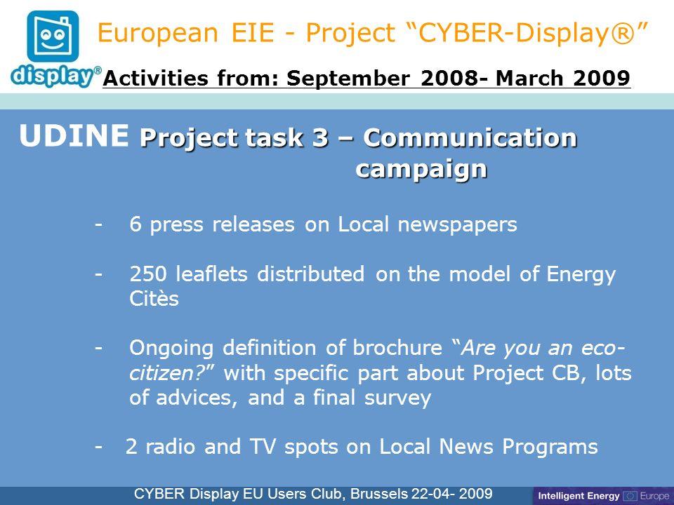 Cliquez pour modifier le style du titre CYBER Display EU Users Club, Brussels 22-04- 2009 -6 press releases on Local newspapers -250 leaflets distribu