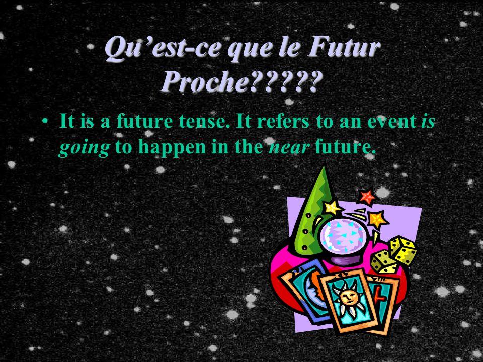 Quest-ce que le Futur Proche????.It is a future tense.