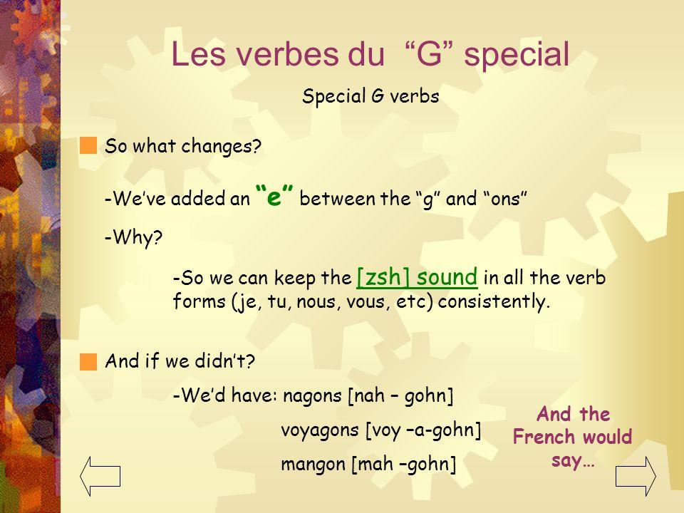 Les verbes du G special Special G verbs voyager Je voyage Nous voyageons Tu voyagesVous voyagez Il/Elle voyage Ils/Elles voyagent nager Je nageNous na