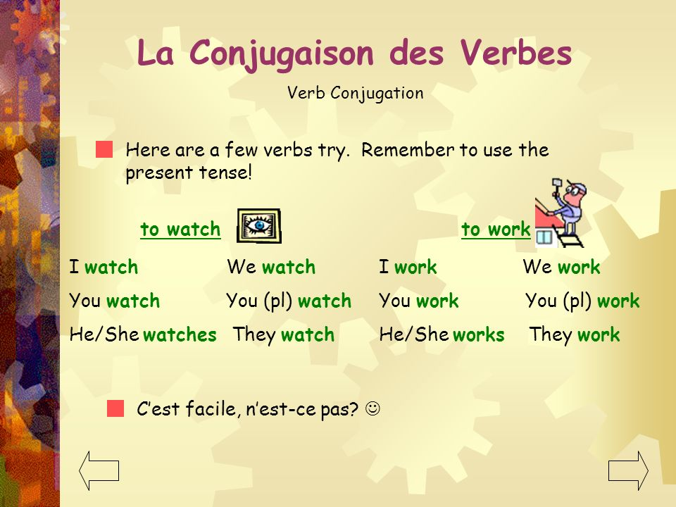 La Conjugaison des Verbes Verb Conjugation Dont they do excellent work? Here are some other familiar projects: to dance to eat I dance We dance You da