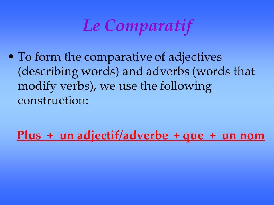 Le Comparatif Exemples: Ex:Marc court vite.Luc court plus vite que Marc.