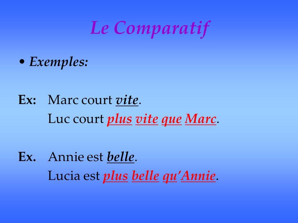 Le Comparatif Exemples: Ex:Marc court vite. Luc court plus vite que Marc.