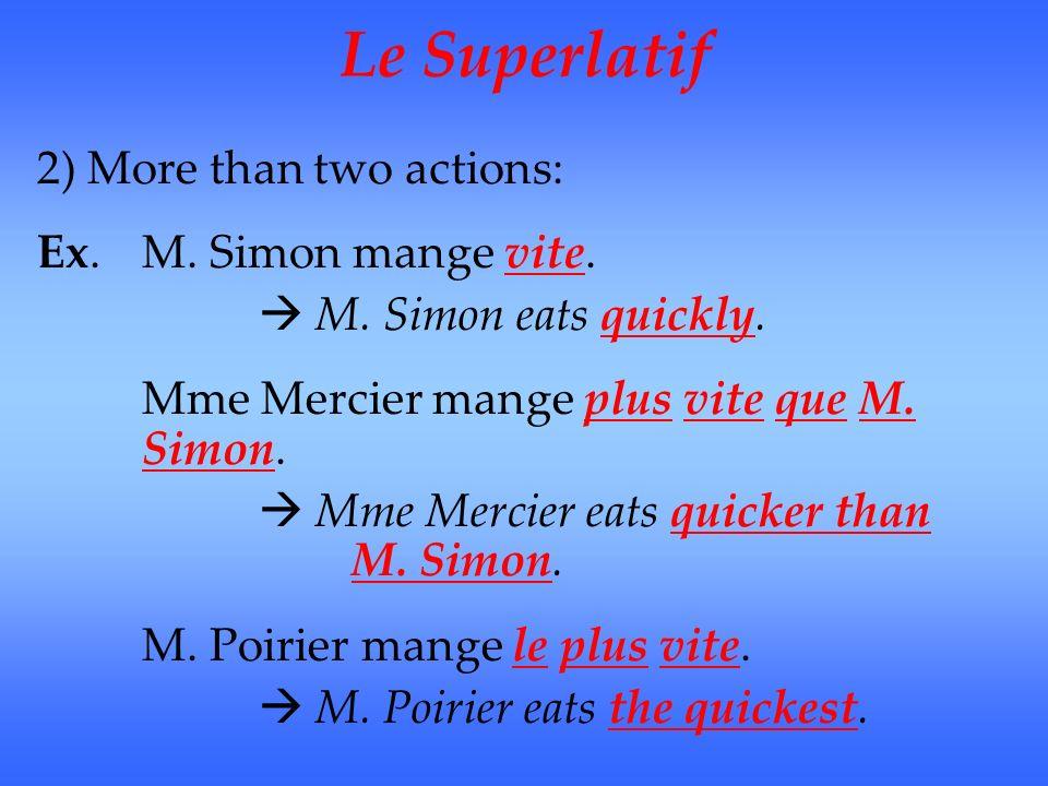 Le Superlatif The superlative indicates the highest quality – the best To form the superlative of adjectives and adverbs: le/la/les + plus/moins +un adjectif le+ plus/moins+un adverbe (invariable – doesnt change)