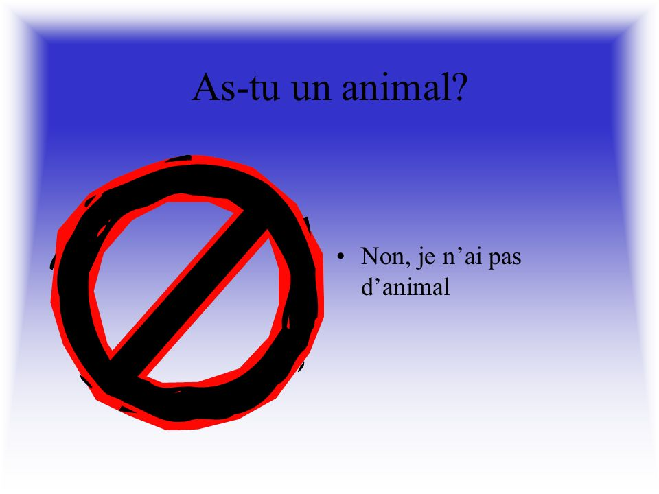As-tu un animal Oui, jai un poisson