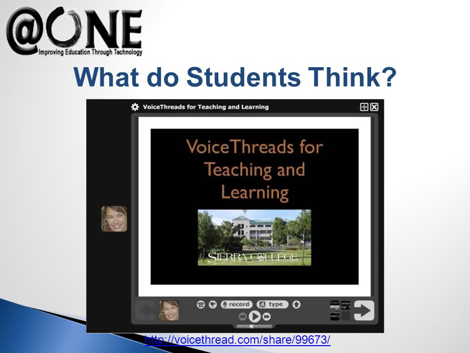 http://voicethread.com/share/99673/ What do Students Think?