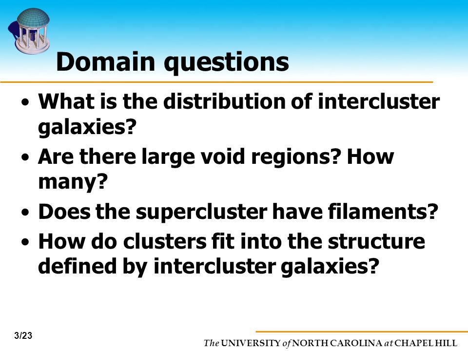 The UNIVERSITY of NORTH CAROLINA at CHAPEL HILL 3/23 Domain questions What is the distribution of intercluster galaxies? Are there large void regions?