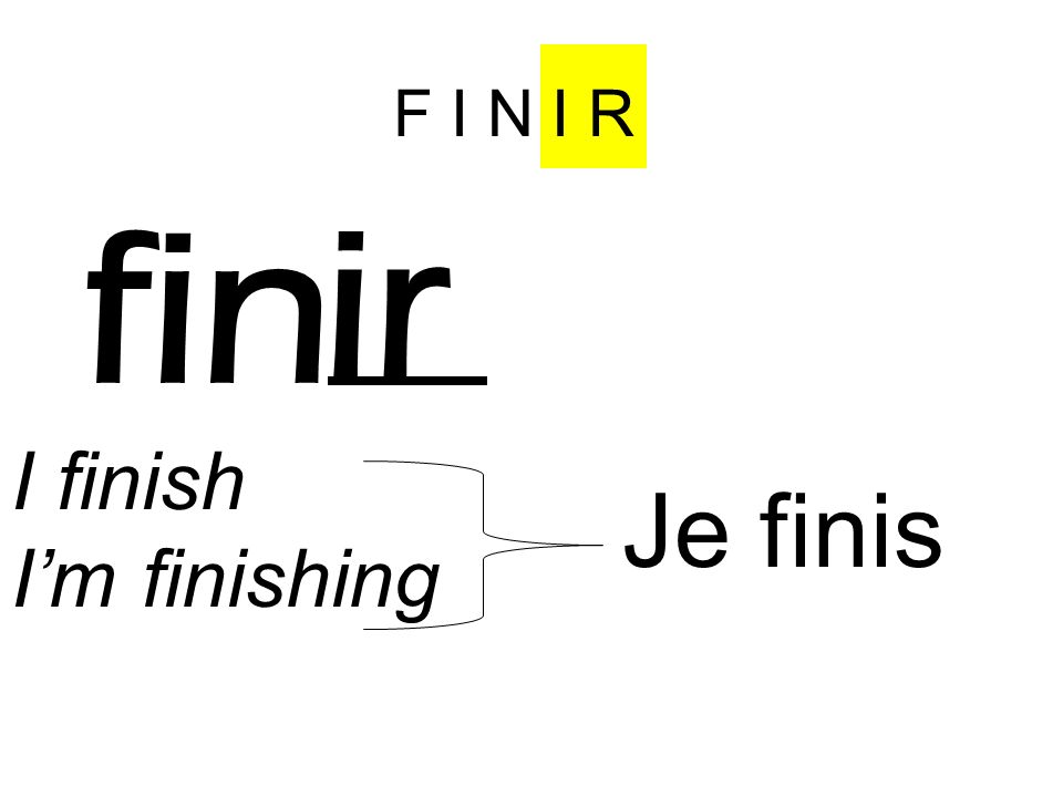 F I N I R fin ir I finish Im finishing Je fin is